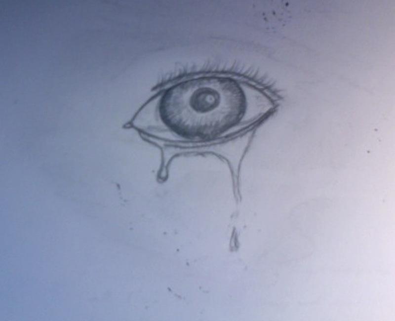 Crying eye tattoo sketch