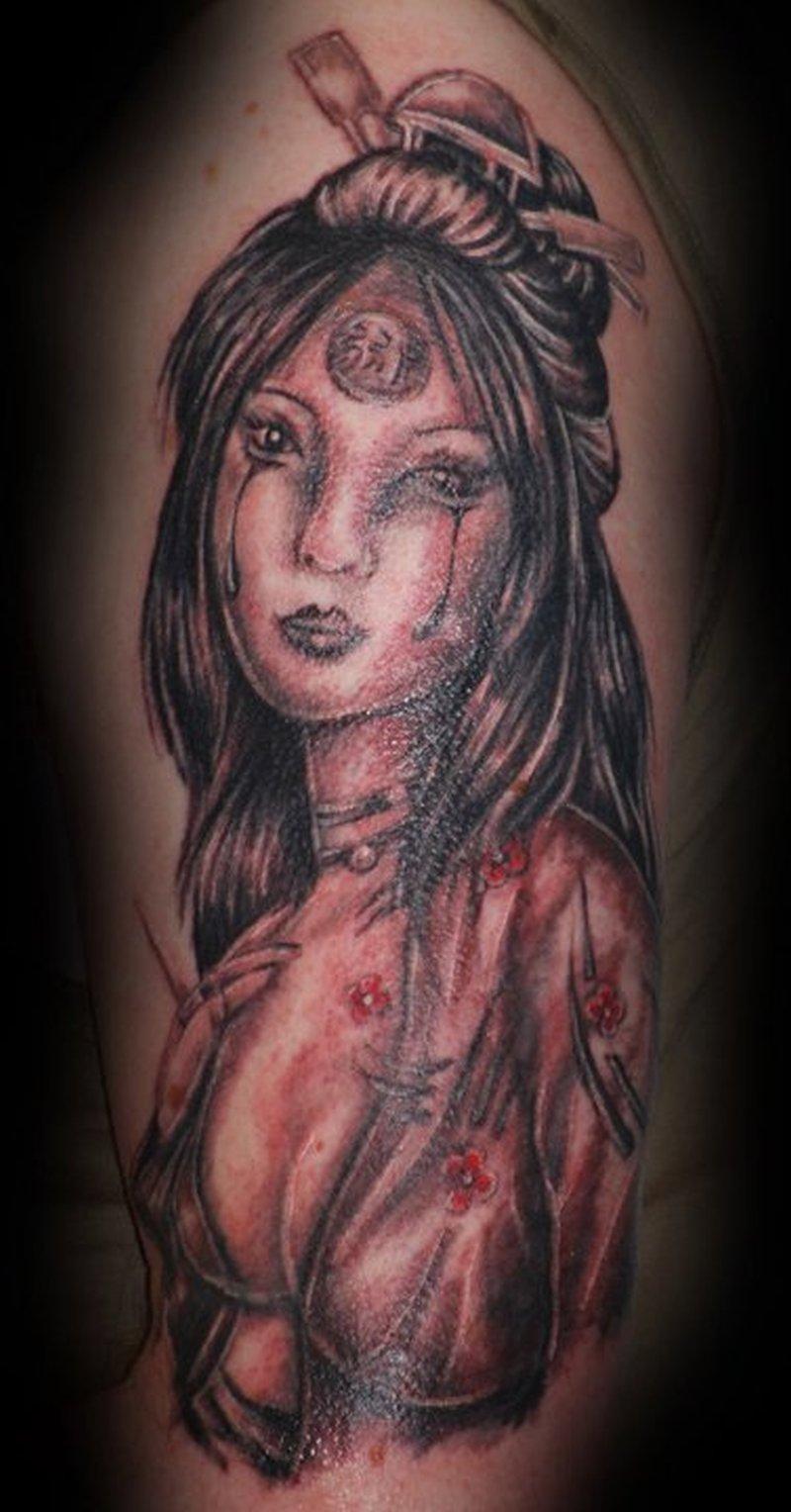 Crying geisha tattoo image
