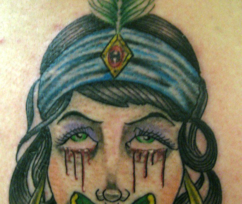 Crying gypsy girl tattoo design
