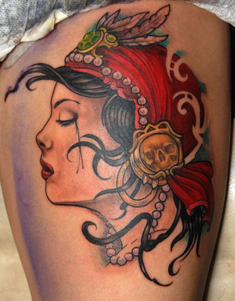 Crying gypsy head tattoo design