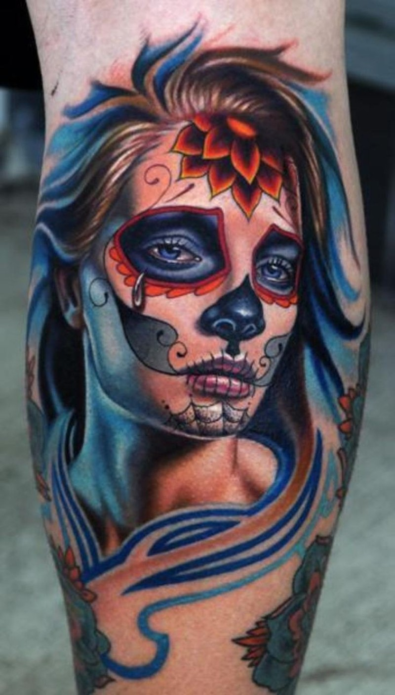 Crying santa muerte girl with red flower on forehead for Tattoo girl book