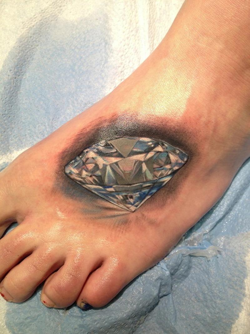 Crystal diamond tattoo on foot