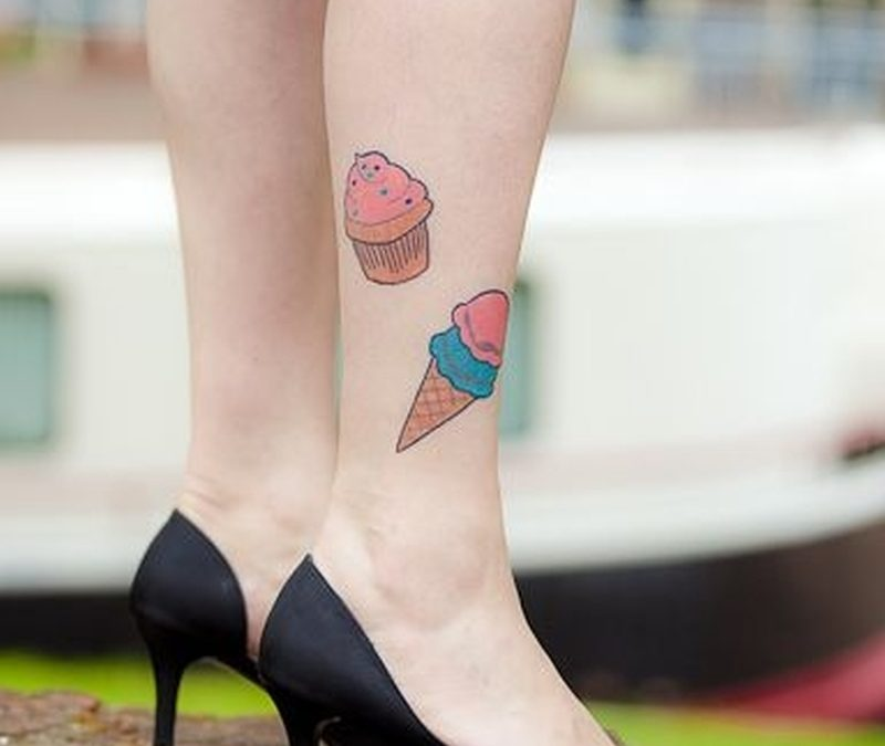 Cupcake ice cream cone ankle tattoo