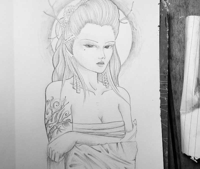 Custom geisha tattoo design