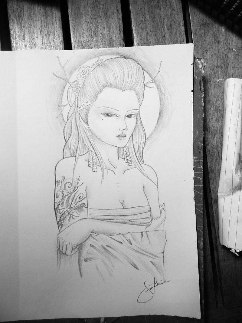 Custom geisha tattoo design