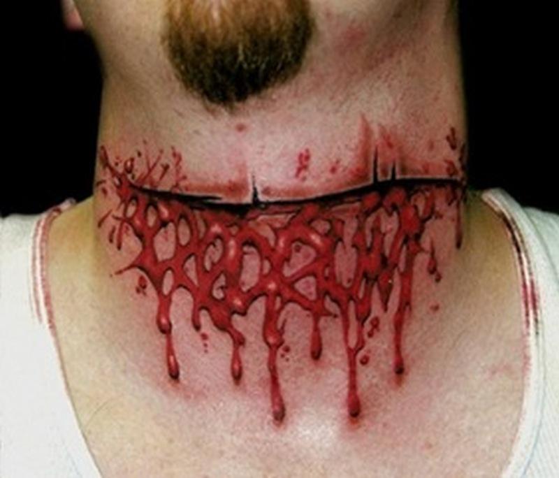 Cut throat horror tattoo design
