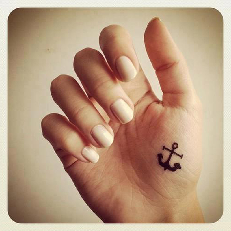 Cute anchor tattoo on inner side of hand