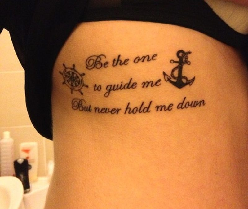 Cute anchor with wording wheel tattoo