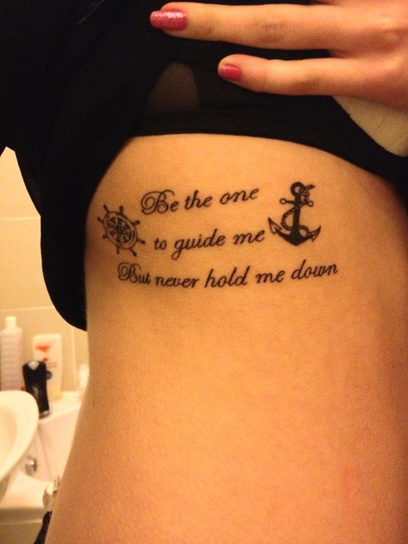 Cute anchor with wording wheel tattoo