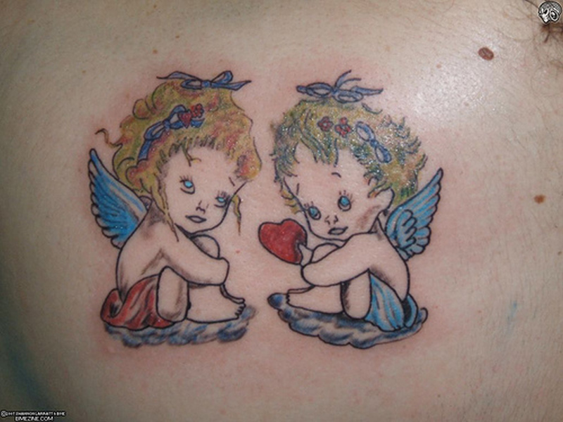 Cute angel cherub tattoo design