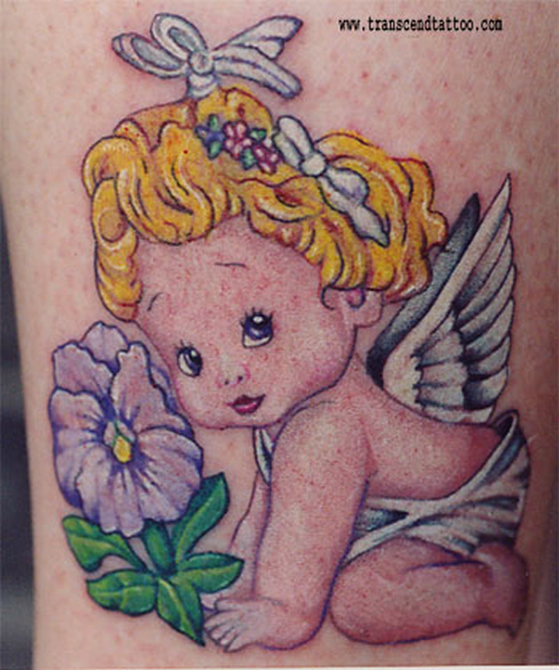 Cute baby angel tattoo design