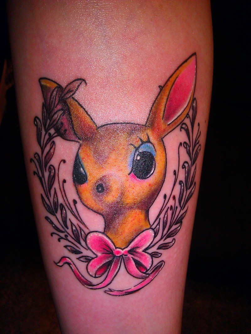 Cute baby deer with pink bow tattoo design