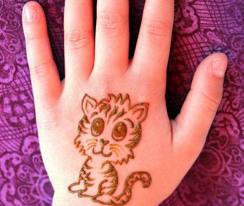 Cute baby tiger henna tattoo on hand