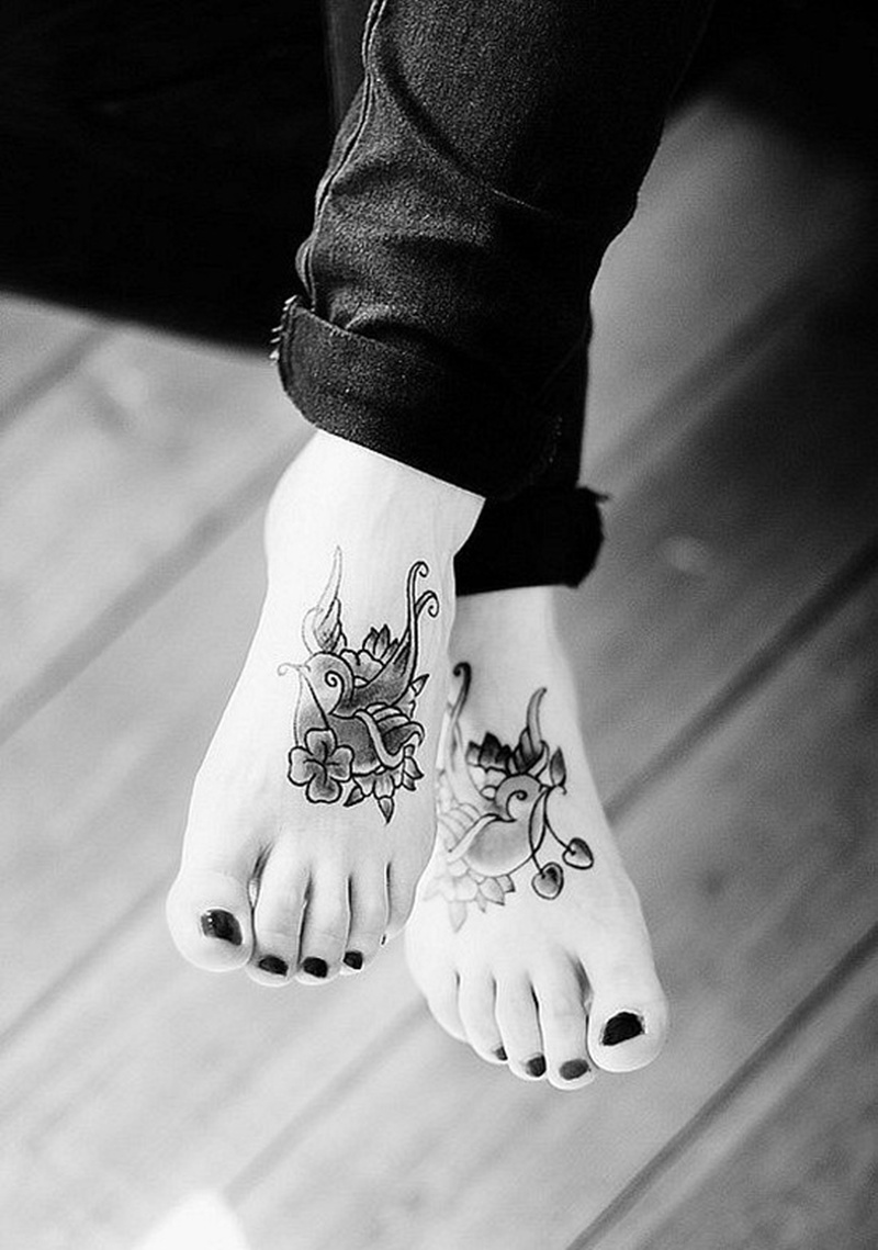 Cute bird tattoo design on foot