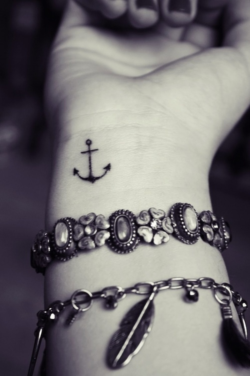Cute black ink wrist anchor tattoo