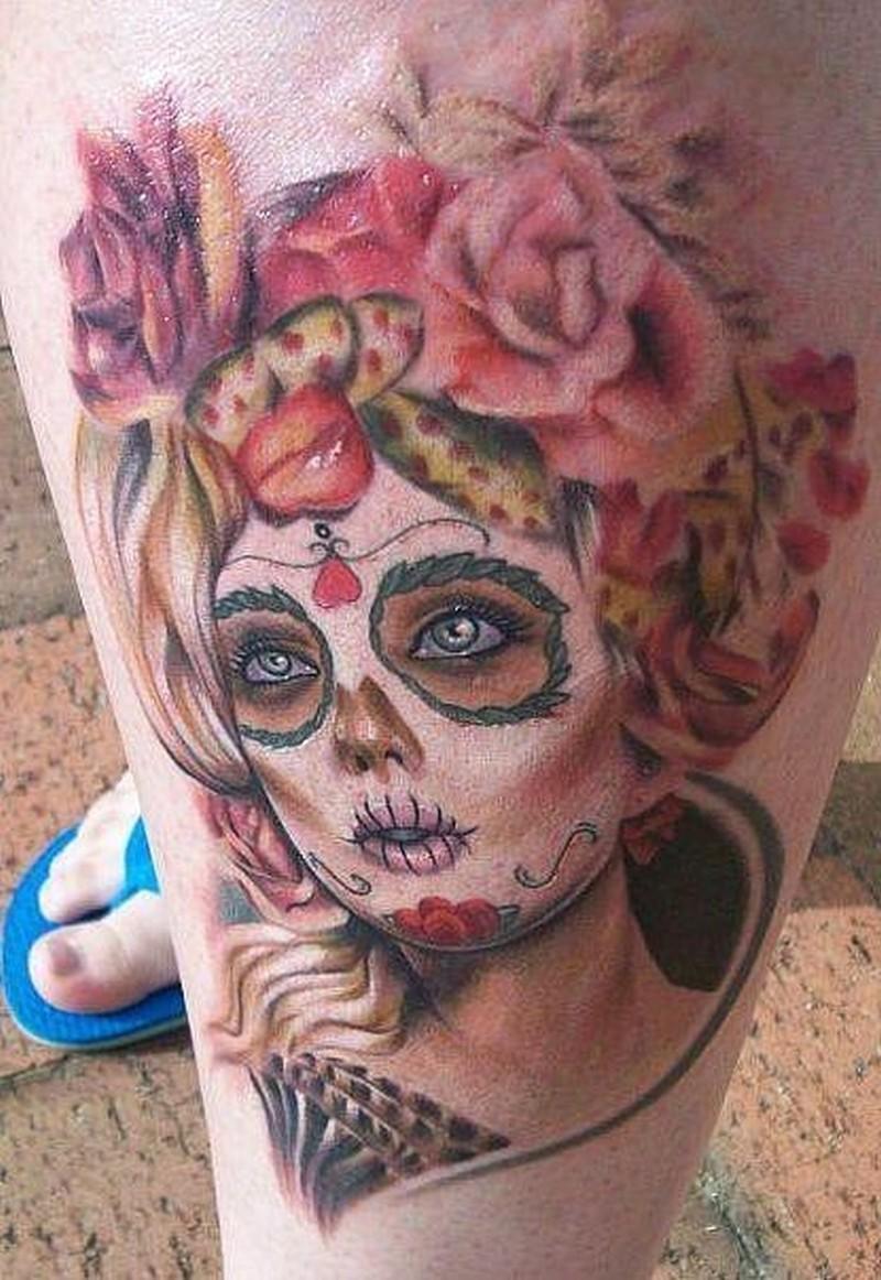 Cute blonde santa muerte girl tattoo on leg - Tattoos Book