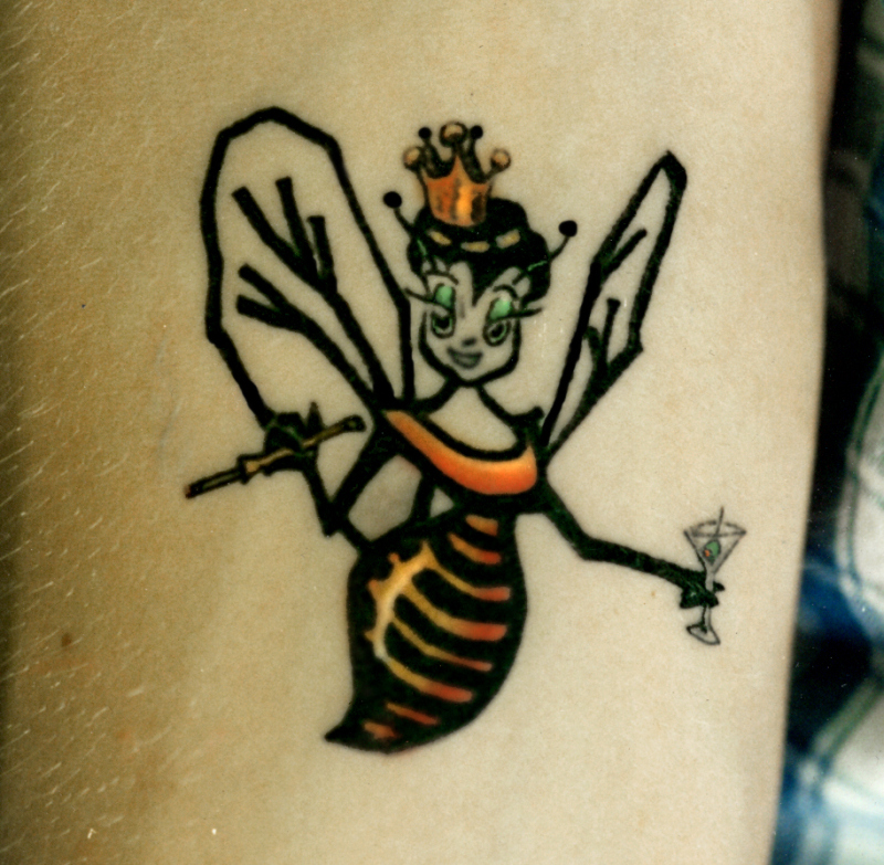 Cute bumblebee fairy tattoo