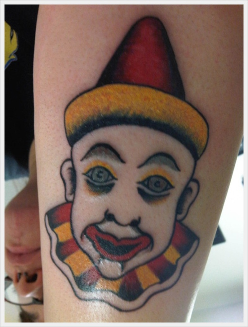 Cute clown tattoo design