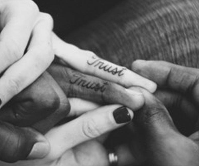 Cute couple matching tattoo