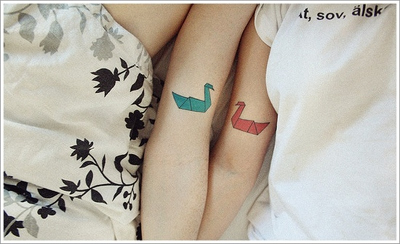Cute couple swan tattoo design