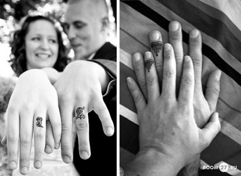 Cute couple tattoo designs on fingers