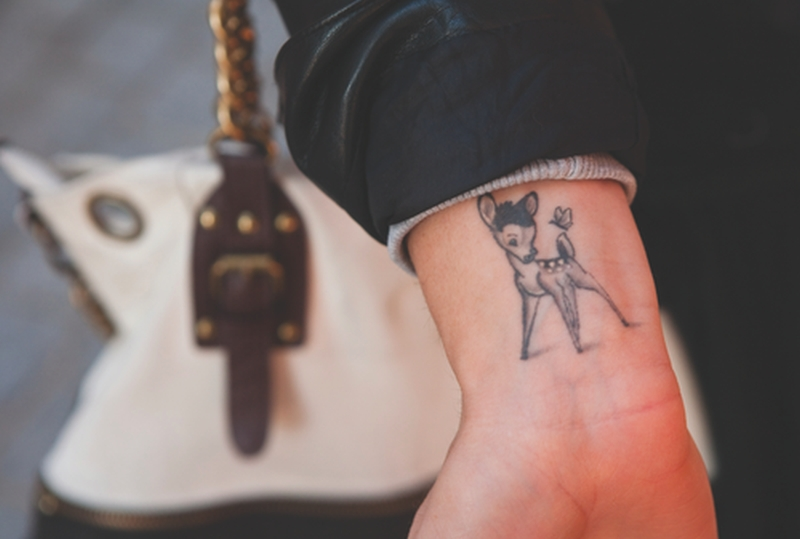 Cute deer tattoo on wrist