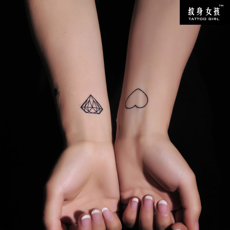 Cute diamond n heart tattoo designs on wrist
