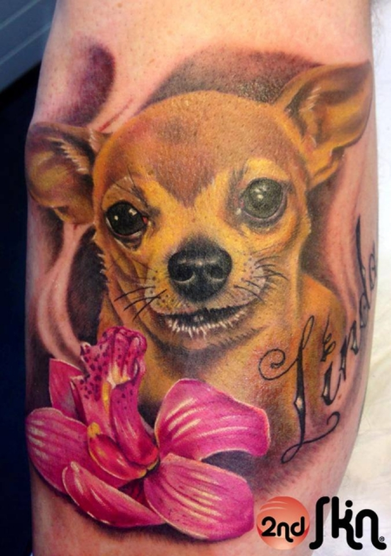 Cute dog with pink flower tattoo design