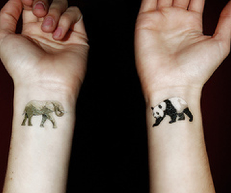 Cute elephant n panda tattoo on wrist