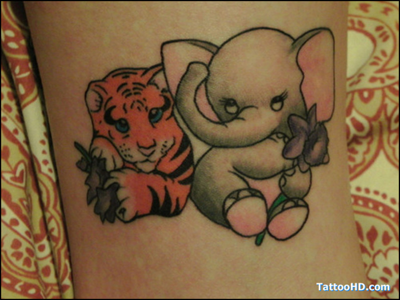 Cute elephant n tiger tattoo design