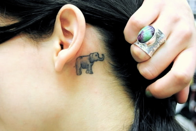 Cute elephant tattoo below ear