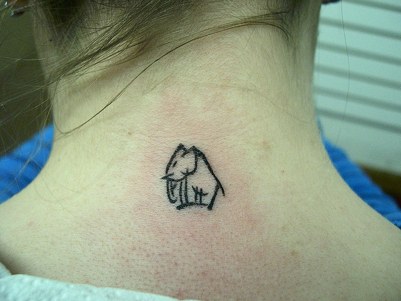 Cute elephant tattoo on nape