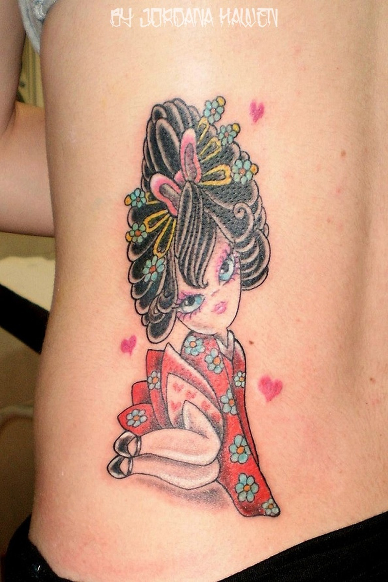Cute geisha tattoo on waist