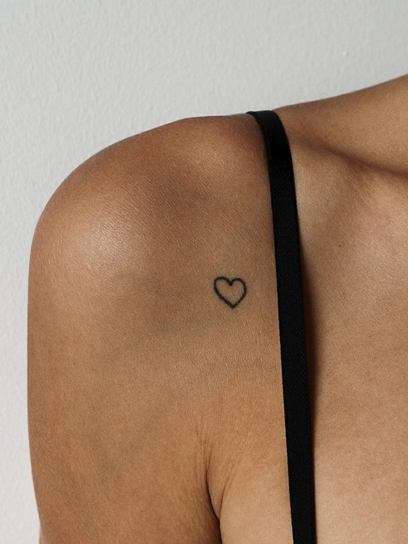 Cute heart tattoo on shoulder