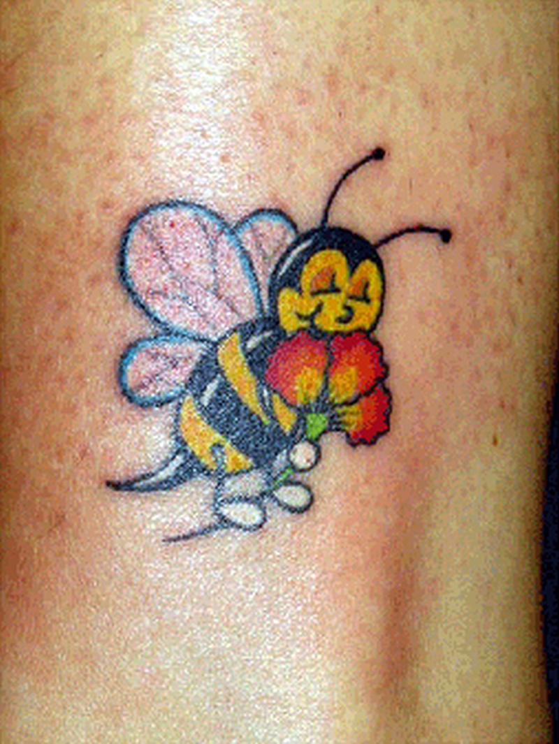 Cute insect bee with flower tattoo design
