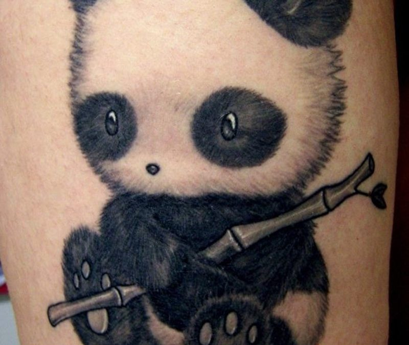 Cute little panda witn bamboo tattoo
