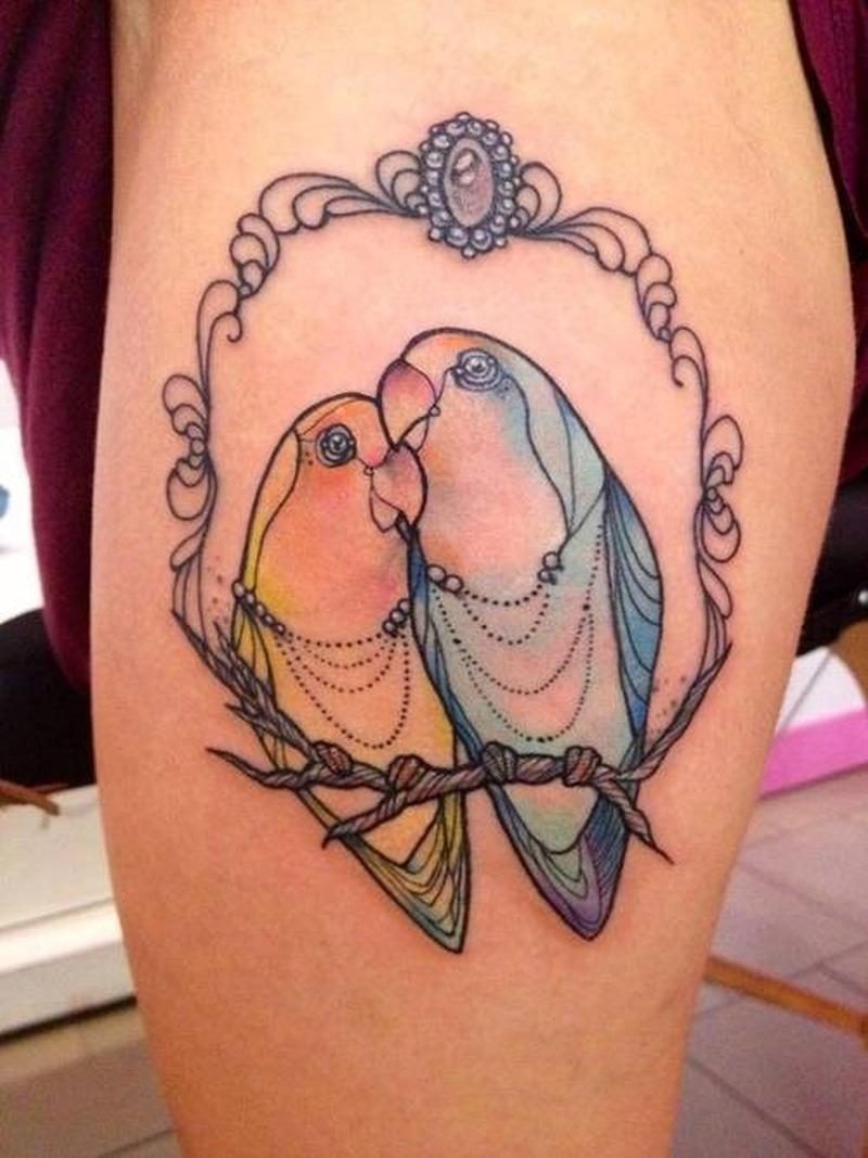 Cute love birds tattoo on thigh