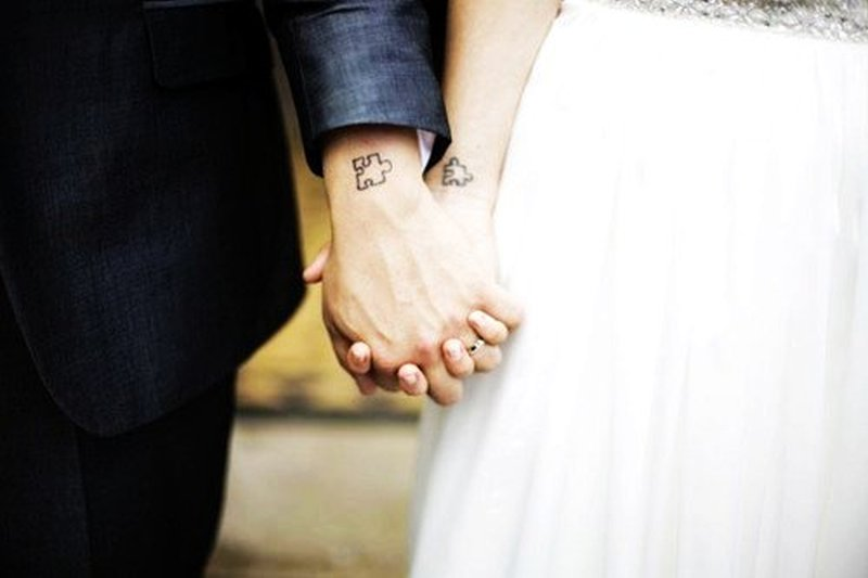 Cute matching tattoo for couple