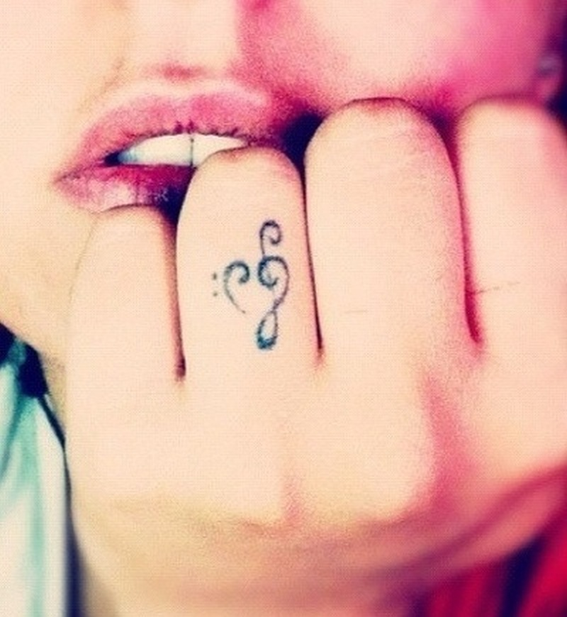 Cute music tattoo design for finger