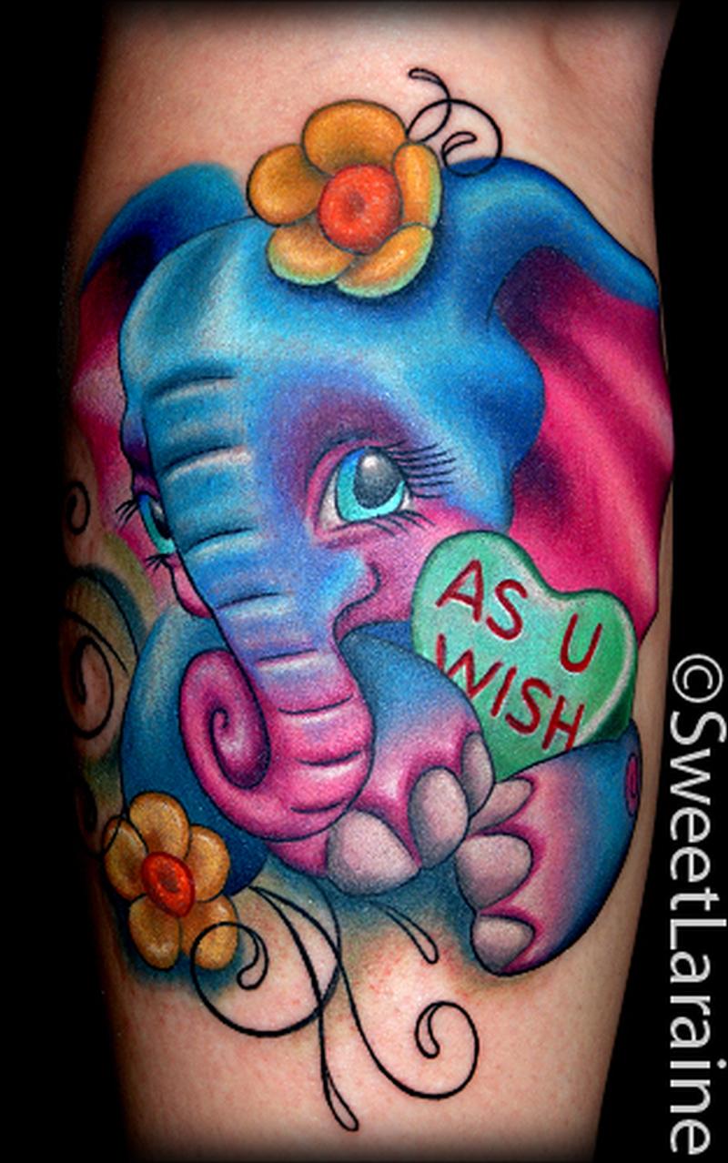 Cute n colorful elephant tattoo design
