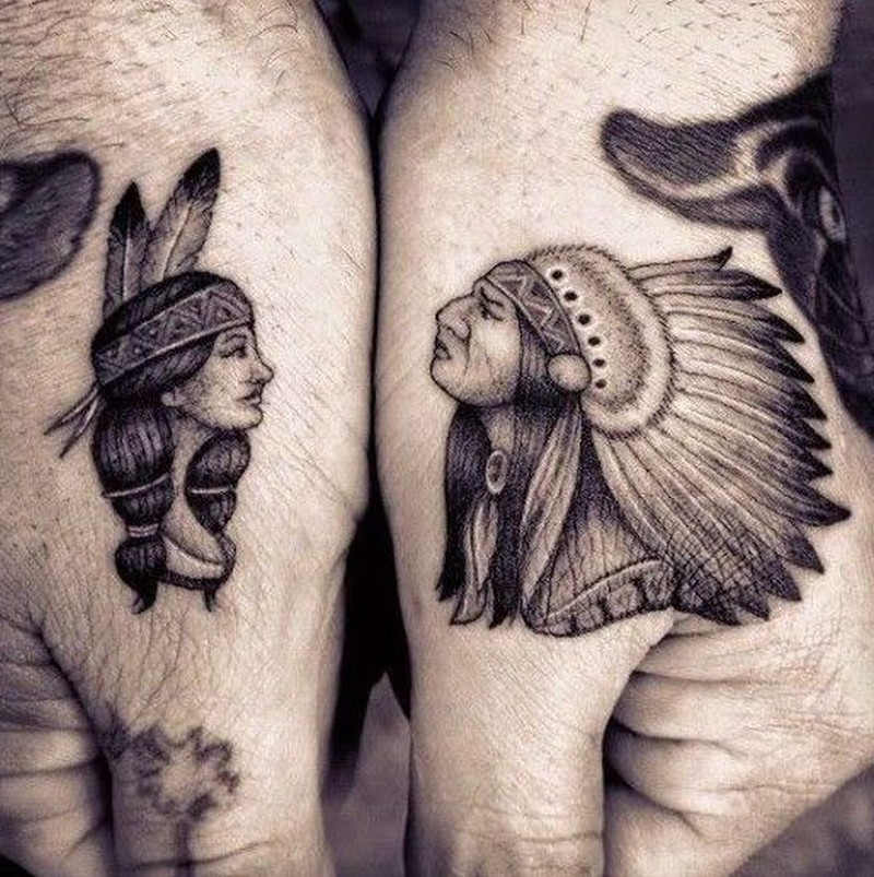 Cute portraits of native american women and men tattoo on for Native american woman tattoo