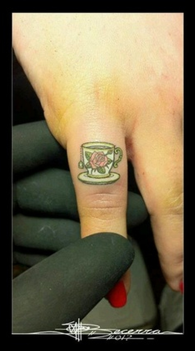 Cute teacup finger tattoo design