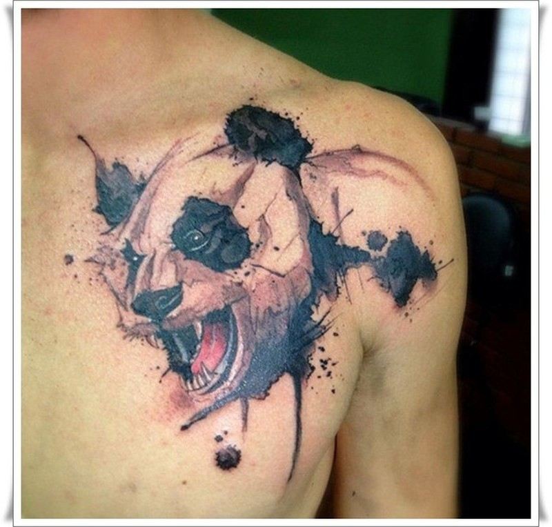 Cute watercolor panda tattoo on chest