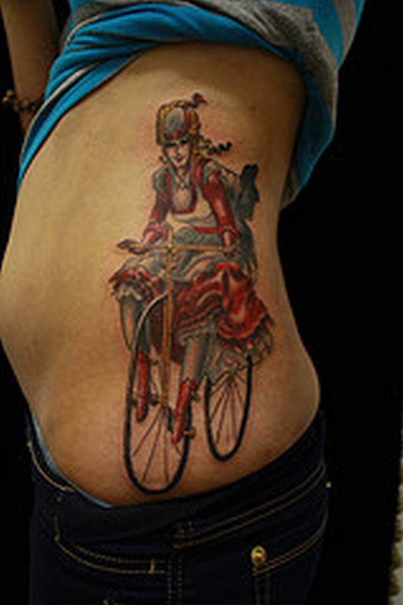 Cycle girl tattoo design