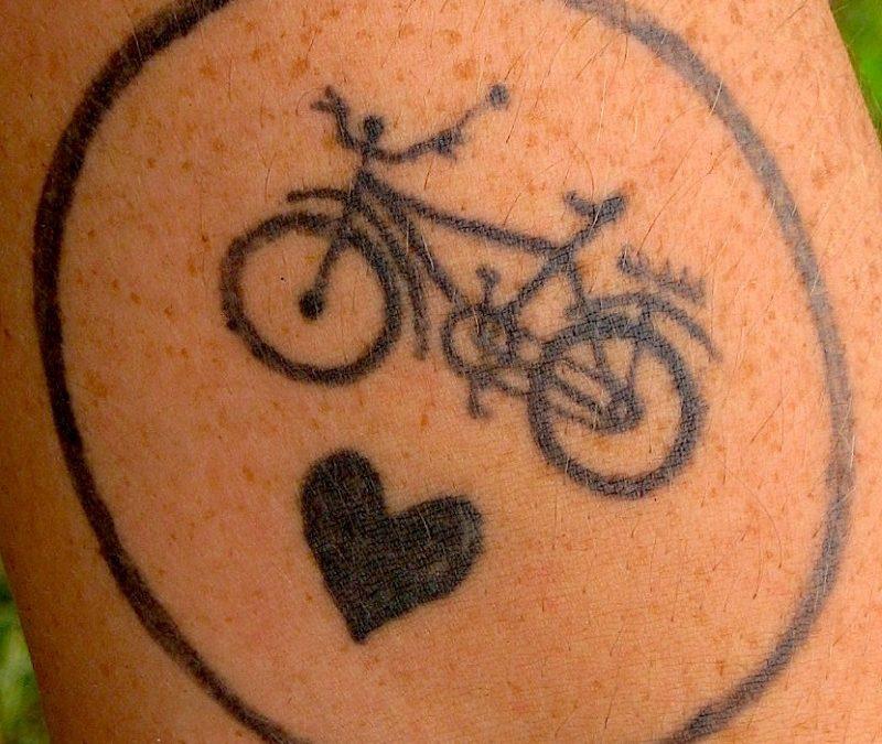 Cycle n heart tattoo design