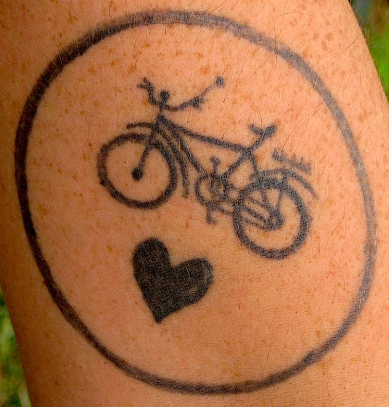 Cycle n heart tattoo design