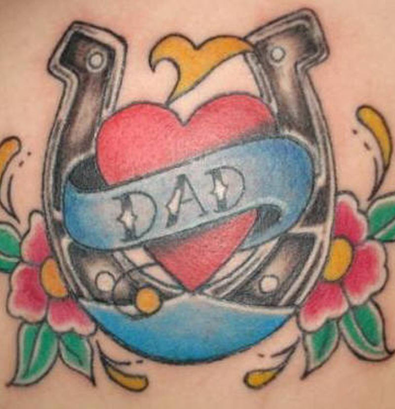 Dad horseshoe tattoo design