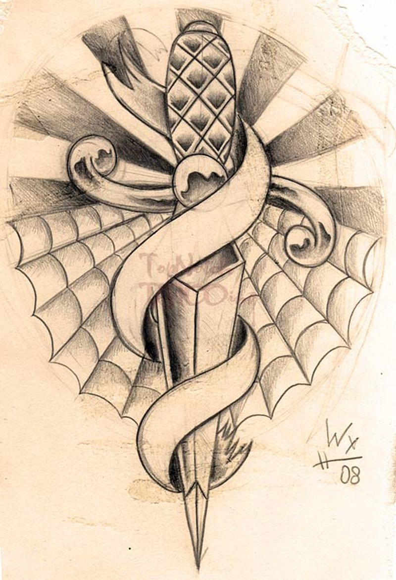 Dagger n banner design tattoo