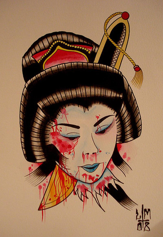 Dagger through geisha head tattoo poster