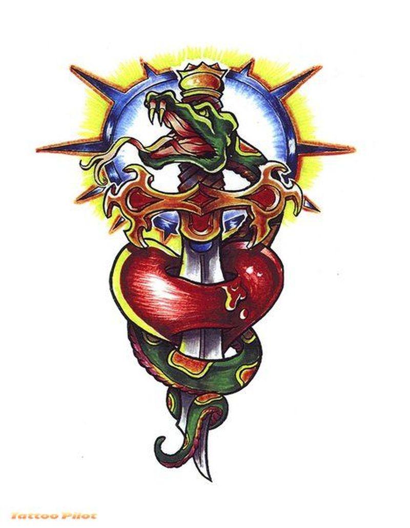 Dagger through heart n snake tattoo design